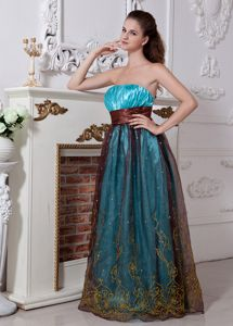 Embroidery Aqua and Brown Strapless Column Military Ball Gown