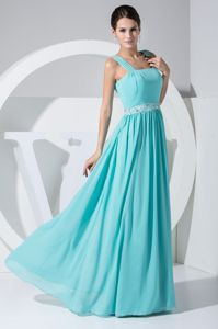 Straps Beading Chiffon Zipper Up Mint Green Military Ball Dresses