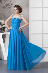Off Shoulder Beading Ruched Blue Chiffon Military Dresses in India
