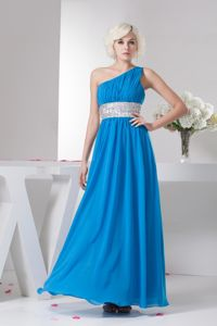 Silver Sash One Shoulder Beading Ruched Teal Military Ball Dress