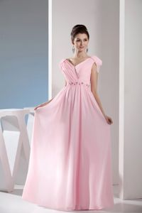Cap Sleeves V-neck Beading Ruched Light Pink Chiffon Military Gown