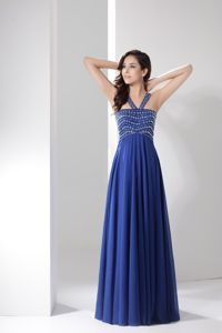 Hot Sale V-neck Beading Ruched Blue Chiffon Gown for Military Ball