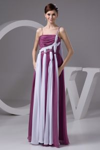 Straps Ruched Purple and White Floor-length Chiffon Military Dresses