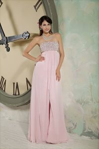 Backless Strapless Beading Baby Pink Chiffon Long Military Dress