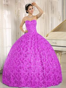 Embroidery Sequin Sweetheart Purple Tulle Military Ball Formal Gown