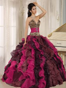 V-neck Leopard Colorful Ruffled Beading Military Ball Formal Dress