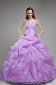 Puffy Ruffled Beading Strapless Lavender Floor-length Military Gown
