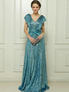 Teal Zipper V-neck Sequins and Bowknot Military Ball Dresses For Women Sequined Sleeveless