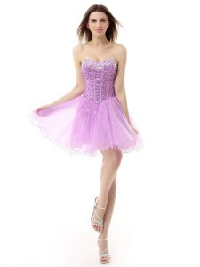 Lilac A-line Beading Ball Gown Prom Dress Lace Up Organza Sleeveless Knee Length