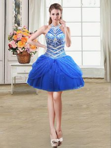 Royal Blue Tulle Lace Up Halter Top Sleeveless Mini Length Military Ball Gowns Beading and Pick Ups
