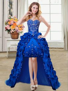 Colorful High Low Royal Blue Military Ball Gown Taffeta Sleeveless Beading and Embroidery and Pick Ups