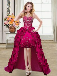 Fuchsia Sleeveless Beading and Embroidery and Pick Ups High Low Military Ball Dresses