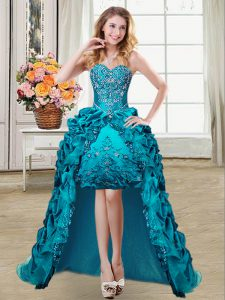 Smart High Low Lace Up Ball Gown Prom Dress Teal for Prom and Party with Embroidery and Pick Ups