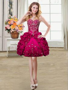 Extravagant Fuchsia Ball Gowns Beading and Embroidery and Pick Ups Military Ball Gowns Lace Up Organza and Taffeta Sleeveless Mini Length