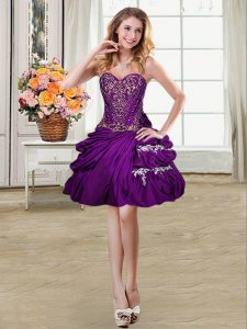 Pretty Purple Sleeveless Mini Length Beading and Appliques and Pick Ups Lace Up Military Ball Gowns