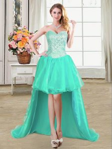Organza Sweetheart Sleeveless Lace Up Beading and Ruffles and Pick Ups Military Ball Dresses in Turquoise