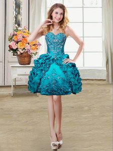 Best Pick Ups Ball Gowns Ball Gown Prom Dress Teal Sweetheart Organza and Taffeta Sleeveless Mini Length Lace Up