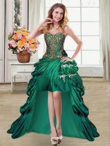 Customized Dark Green Ball Gown Prom Dress Prom and Party with Beading and Appliques and Pick Ups Sweetheart Sleeveless Lace Up
