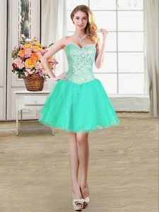 Decent Turquoise Lace Up Sweetheart Beading and Ruffles and Pick Ups Military Ball Gowns Organza Sleeveless
