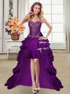 Modern Purple Sleeveless High Low Beading and Appliques and Pick Ups Lace Up Military Ball Dresses