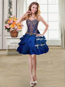 Beautiful Royal Blue Ball Gowns Beading and Appliques and Pick Ups Military Ball Dresses For Women Lace Up Taffeta Sleeveless Mini Length