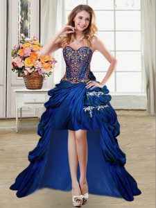 Customized Pick Ups High Low Royal Blue Military Ball Gown Sweetheart Sleeveless Lace Up