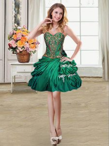 Beading and Appliques and Pick Ups Military Ball Gown Dark Green Lace Up Sleeveless Mini Length