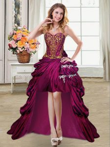 Sleeveless High Low Beading and Appliques and Pick Ups Lace Up Military Ball Gown with Fuchsia