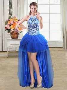 Elegant Royal Blue Tulle Lace Up Halter Top Sleeveless High Low Military Ball Dresses Beading and Pick Ups