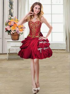 Pick Ups Wine Red Sleeveless Taffeta Lace Up Military Ball Dresses for Prom and Party