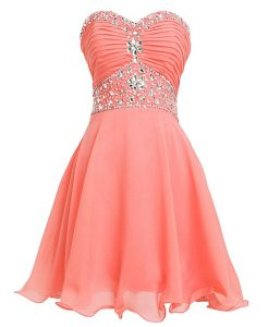 Modest Watermelon Red Empire Beading and Belt Ball Gown Prom Dress Lace Up Organza Sleeveless Mini Length