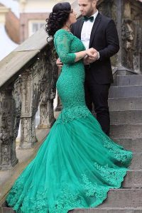 Mermaid Green Long Sleeves Tulle Chapel Train Lace Up Military Ball Dresses for Prom