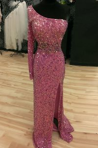 Decent Sequins Sweep Train Mermaid Military Ball Dresses For Women Lilac One Shoulder Sequined Long Sleeves Backless