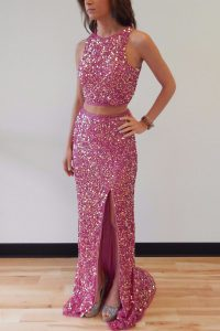 Custom Made Mermaid Scoop Lilac Sequined Backless Ball Gown Prom Dress Sleeveless Sweep Train Sequins