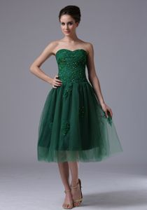 Short Sweetheart Appliques Beading Dark Green Tulle Military Dress