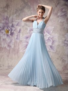 Pleated Halter Beading Baby Blue Chiffon Floor-length Military Dress