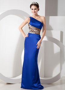 Leopard Fabric One Shoulder Blue Taffeta Military Ball Formal Dresses