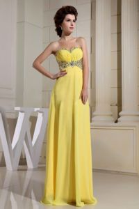 Sweetheart Ruched Beading Floor Length Yellow Military Ball Attire