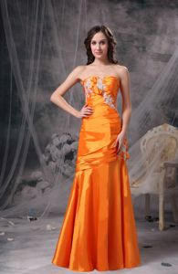 Side Zipper Sweetheart Appliques Ruched Orange Military Dresses