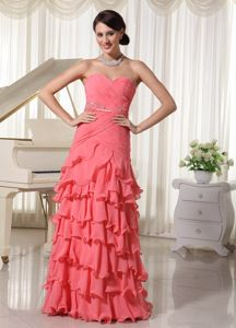 Ruffled Sweetheart Ruched Beading Watermelon Dress for Military Ball