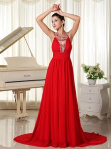 Scoop Neck Beading Red Brush Train Maternity Military Ball Dresses