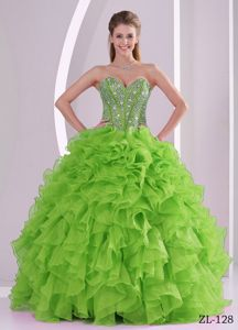 Ruffles Sweetheart Beading Yellow Green Organza Military Gowns