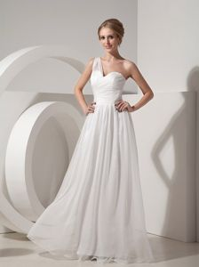 Ruched One Shoulder White Organza Formal Dresses for Military Ball