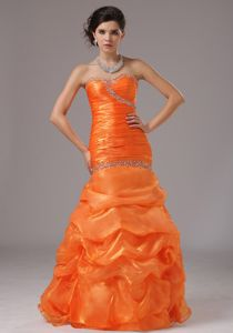 Pick-ups Sweetheart Beading Ruched Orange Mermaid Military Gown
