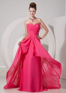 Sweetheart Ruched Coral Red Chiffon Brush Train Military Dresses