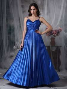 Modest Straps Pleated Ruches Royal Blue Long Military Ball Gowns