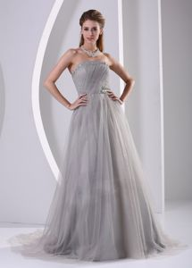Strapless Beaded Grey Tulle Sweep Train Plus Size Military Dresses