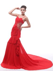 Red Straps Ruches Beaded Court Train Military Ball Formal Gowns