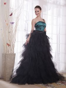 Tulle Ruffled One Shoulder Appliques Long Dresses for Military Ball