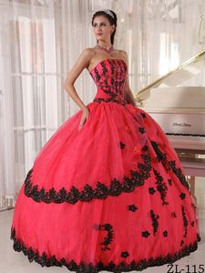 Strapless Beading Appliques Coral Red Layered Military Ball Attire